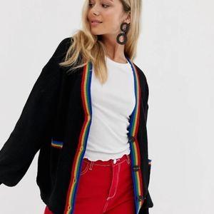ASOS Wild Flower Black Rainbow Sweater Cardigan